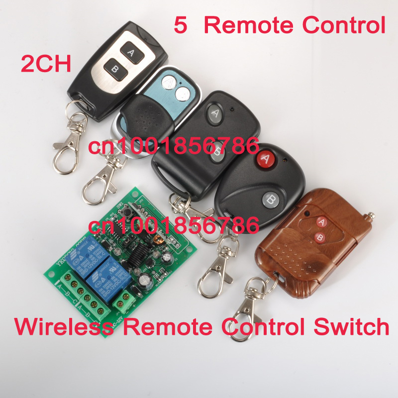 Wholesale Free shipping Learning Code 12V 2CH Transmitter Receiver RF Wireless Remote Control Switch System.