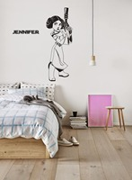 Princess Leia Wall Stickers For Kids Rooms Personalized Name Vinyl Wall Decal Girls Gift Baby Nursery