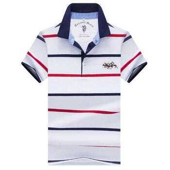 dcd635d7ff3 Los hombres camisa de polo de alta calidad 2019 de verano de los hombres de  la marca Polo camisa Casual de negocios de manga corta a rayas de algodón  sólido ...