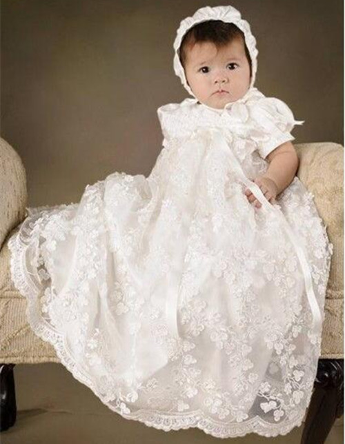 Hot Sale Infant Girls Christening Dress Todder Baptism Gown Lace Satin White/Ivory Baby Girls Birthday Dress WITH BONNET