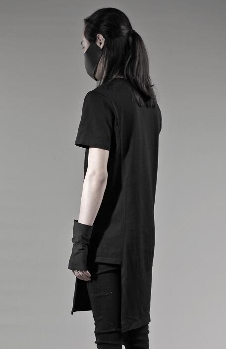 Breve da forma do projeto original do punk sexy slim camisa dos homens de manga comprida camisa adolescente coreano projeto longo T shirt dos homens personalidade - 6