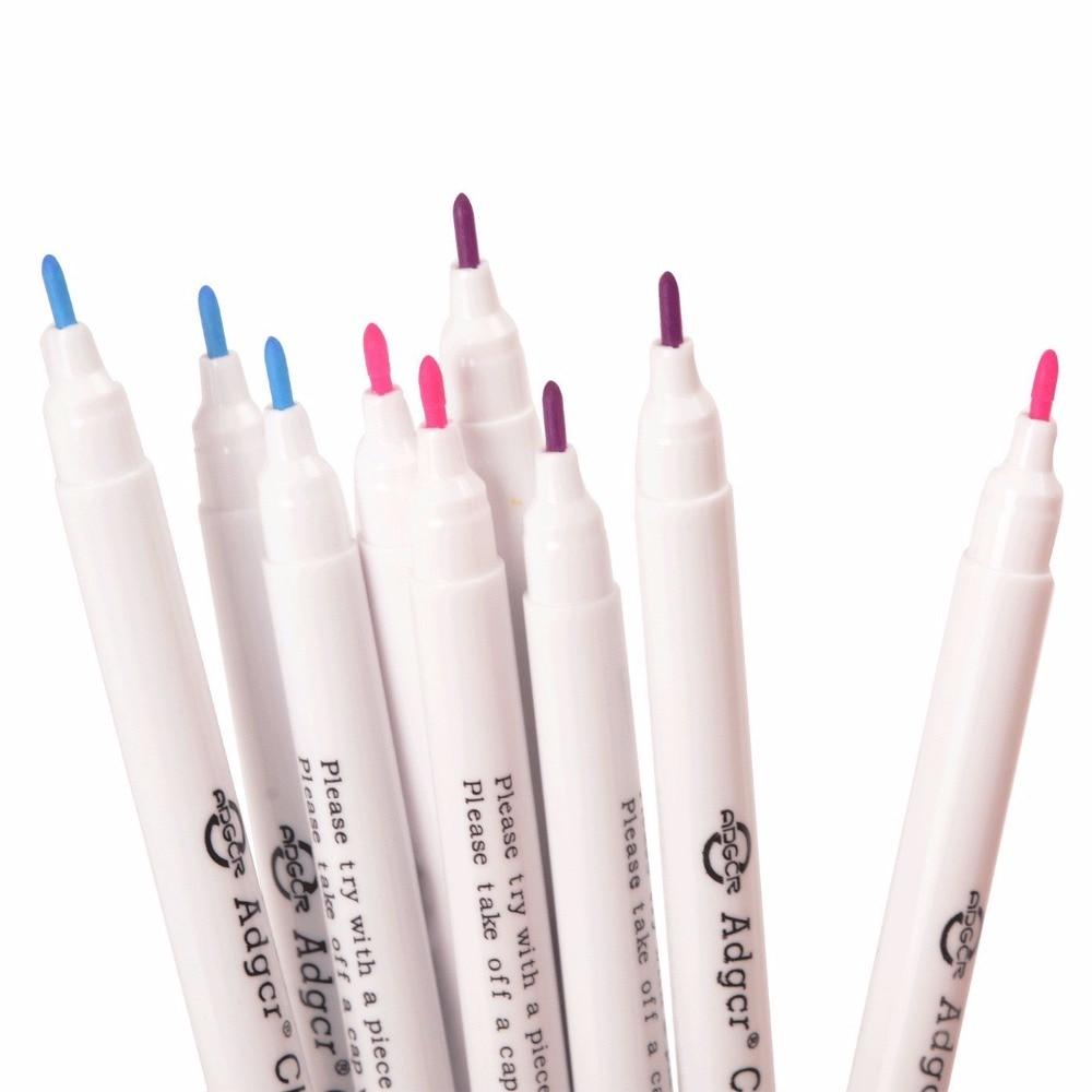 Купить с кэшбэком 9PCS 3 Colors Erasable Fabric Marker Pen Disappearing Vanishing Ink Fine Tip Marking Pen Purple Pink Blue Color Sewing Tools