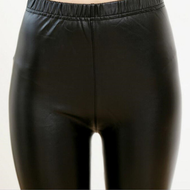 2016 Autumn Womens PU Leather Pants High Elastic Waist Leggings Not Crack Slim Leather Leggings Fleece Trousers Women Plus Size