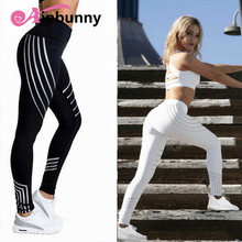 AipBunny 2018 Hot sale Women Striped Push up Bodybuilding Elastic Pants High waist Leggings Quality Femme pencil trousers
