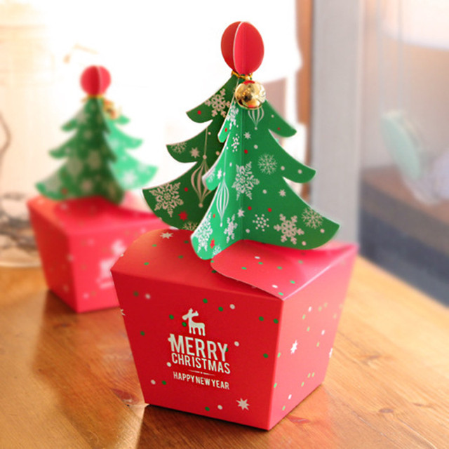 50pcslot Merry Christmas Tree Gift Box Cookie Cholocate
