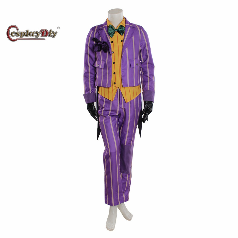 Cosplaydiy Movie Arkham Asylum Joker Cosplay Costume Adult Halloween Outfit Custom Made D1027
