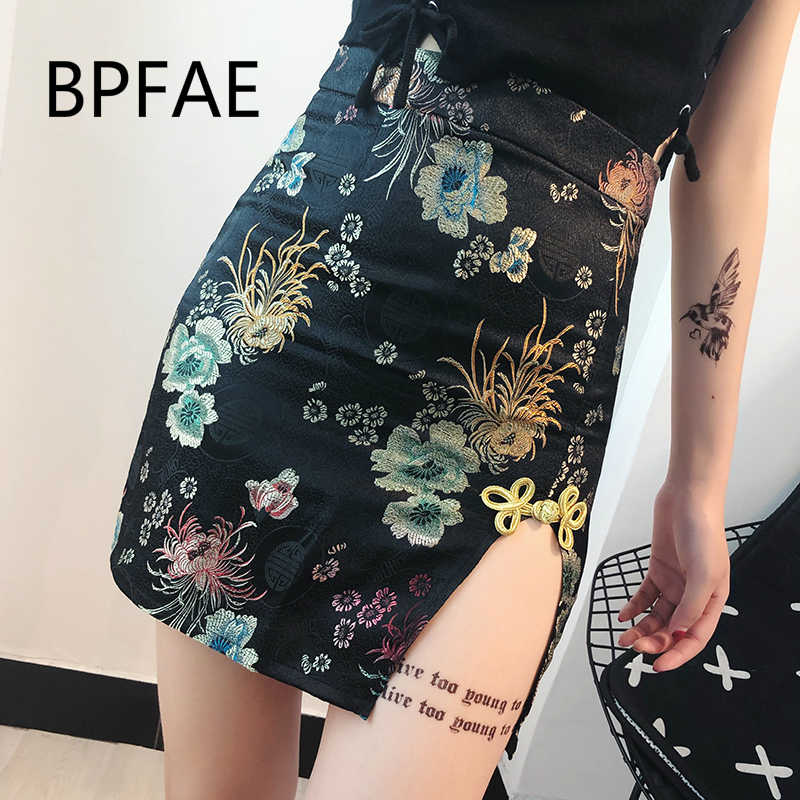 464c597685 2018 New Women Harajuku Vintage Floral Embroidery Side Slit High Waist  Casual Pencil Skirt Female Sexy