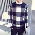 2017 Spring New Brand Pullover Fashion Plaid Men Sweaters long Sleeve O-neck Slim High Quality Knitted Sweaters Lq305