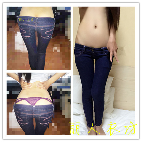 Cowboy pants female Ultra Slim low-rise jeans classic style pencil pants tight waist and buttocks