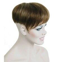 Silne uroda syntetyczne włosy syntetyczne peruka peruka krótkie proste włosy fo mężczyźni peruczki męskie Hairpiece