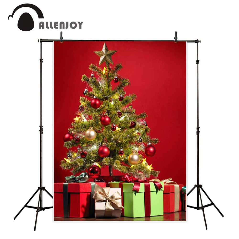 Allenjoy backdrops Photography Christmas tree red wall family celebrate background profession photo studio new photocall