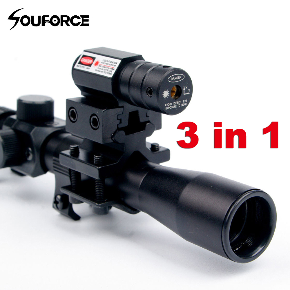4x20 Crossbow Rifle Scope Optics Tactical Riflescope com Red Dot Laser Sight and 11 milímetros Rail Suportes para 22 calibre Armas de Caça UM