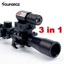 4x20 Rifle Optics Scope Tactical Armbrust Zielfernrohr mit Red Dot Laser Anblick und 11mm Schiene Halterungen für 22 kaliber Guns Jagd EIN