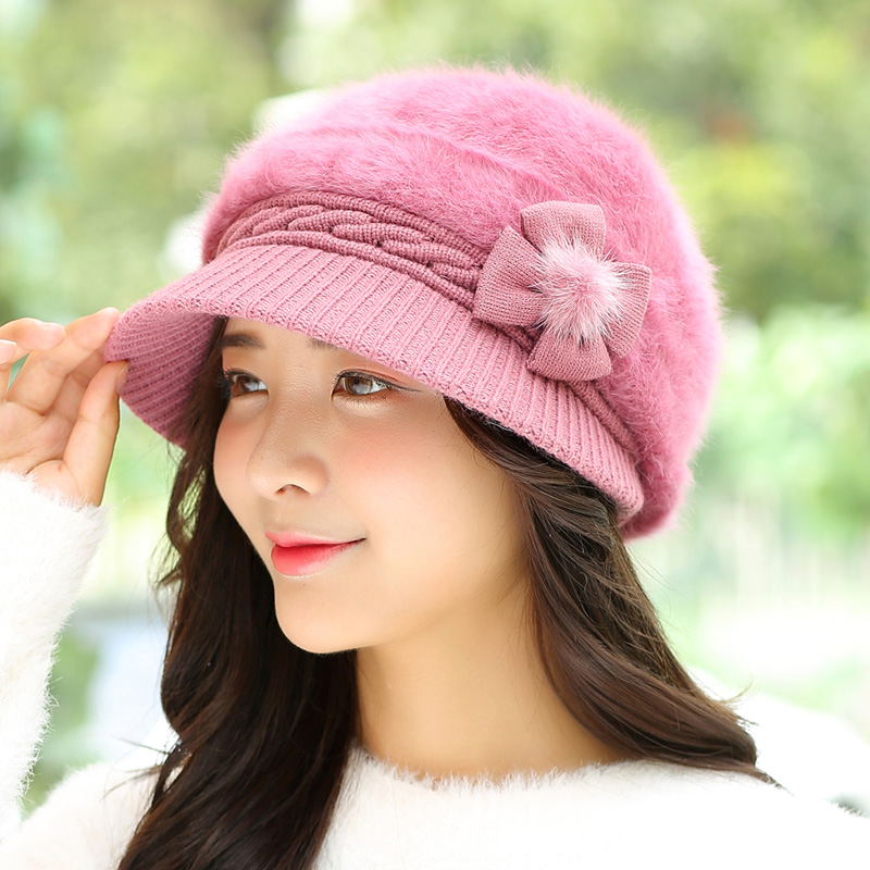 Ladies Hot Autumn Winter Solid Color Knitted Cony Hair Warm Thick Plush Soft Nap Lined Fluffy Velvet Women's Peaked Gorro Hat hot autumn winter knitted gorro man camouflage skullies toboggans beanies fleece lined soft nap plus velvet jacquard weave cap