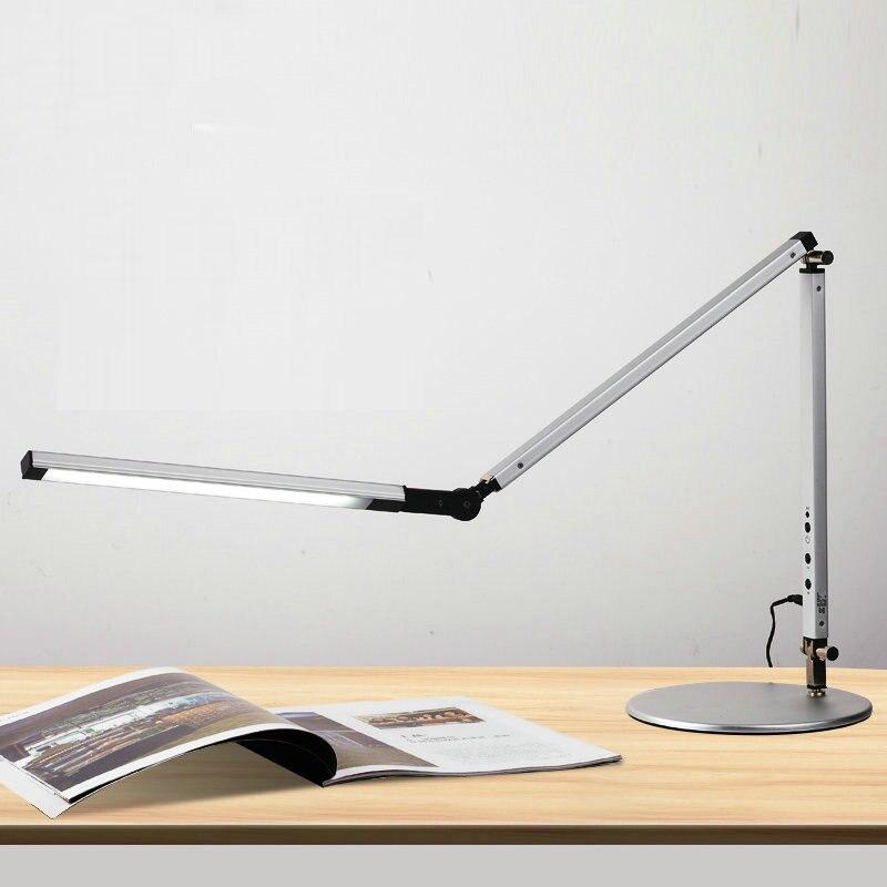 8 w economia de energia moderna lampada de mesa led dimmer olho cuidados balanco longo braco
