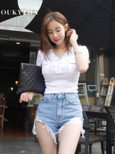 цена на Women T-shirts Summer 2019 White Tees V-Neck Sexy Shirt With Pocket Short Sleeves Top Close-fitting Solid Female Clothes