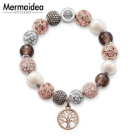 Bracelet Rose Tree with Bead Fashion Karma Jewelry Gift For Women 925 Sterling Silver Fit Charms