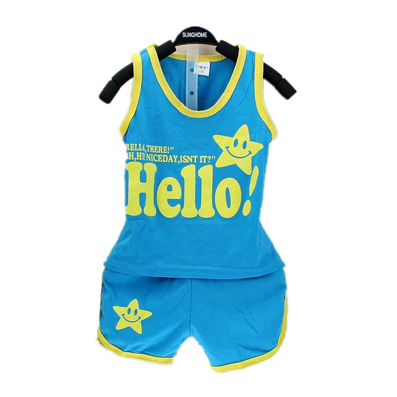 Summer Hello Baby Sets Baby Boy Clothes Cotton Sleeveless Vest + Shorts 2pcs Kids Sports Clothing Sets Newborn Suits MKBCCL005