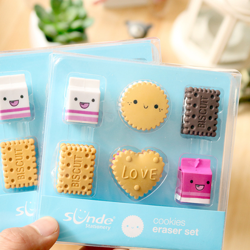 Milk /& Cookie Eraser Set Rubber Food Novelty Stationery Gift Back to School