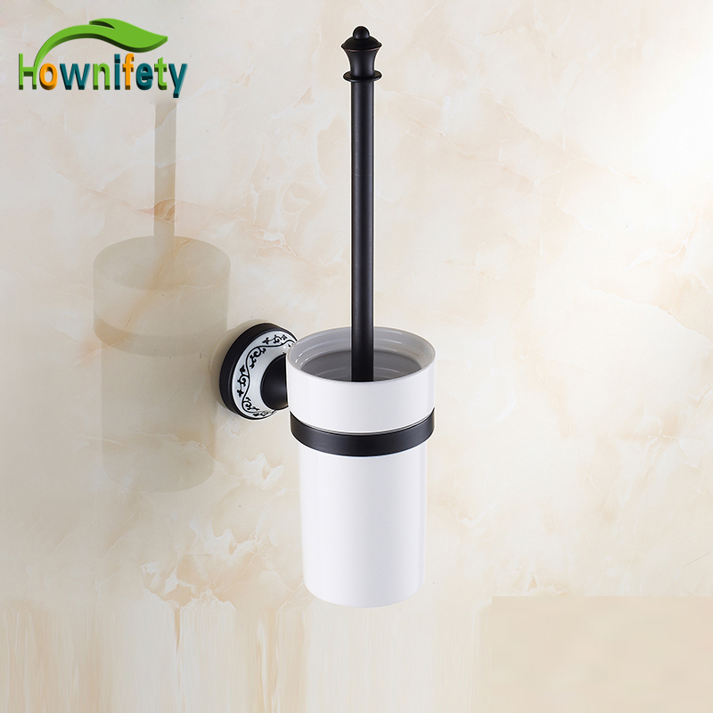 Traditional Oil Rubbed Bronze Bath Ceramic Cup Wall Mount Toilet Brush Holder + Cup + Brushed