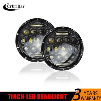 Running Lights 75W Car Led H4 7inch Car Accessories 35W Angel Eyes H4 Led Headlight For Lada Niva 4X4 Uaz Toyota Hunter jeep