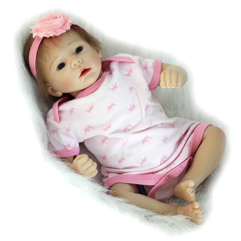 Pink Romper 20 Inch Reborn Babies Girl Lifelike Silicone Newborn Dolls Realistic Doll Toy With Blue Eyes Kids Birthday Xmas Gift pink romper 20 inch reborn babies girl lifelike silicone newborn dolls realistic doll toy with blue eyes kids birthday xmas gift