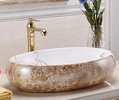 Colore in ceramica lavabo fase marmo bacino lavabo ovale bacino di arte della lavata