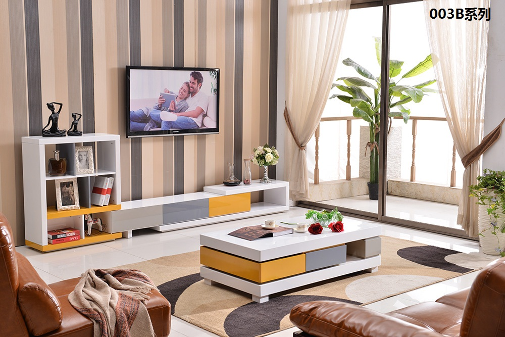 0510003B Modern living room furniture TV cabinet tea table coffee table colorful piano painting sidetable cabinet furniture set furniture parlor marble combination wood adjustable tv cabinet coffee table