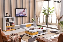 0510003B Modern living room furniture TV cabinet tea table coffee table colorful piano painting sidetable cabinet furniture set