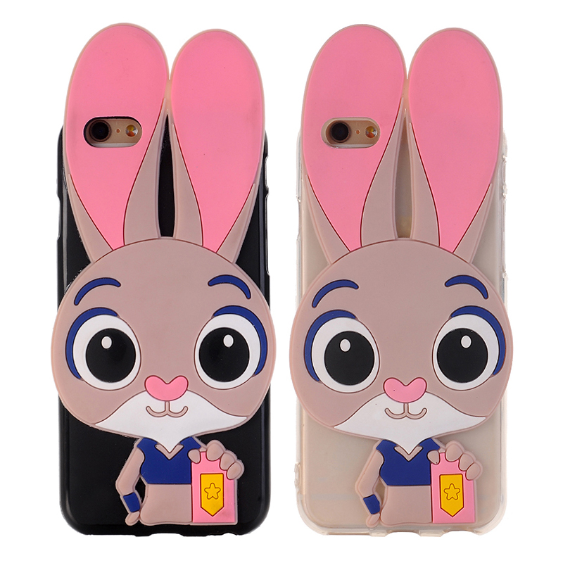 <font><b>3D</b></font> <font><b>Cartoon</b></font> Cute Judy Bunny Case for Apple <font><b>iPhone</b></font> 4 4S 5 <font><b>5S</b></font> SE 6 6S 7 8 Plus Soft Silicon Cover <font><b>Fundas</b></font> for <font><b>iPhone</b></font> X 5C Shell Capa image