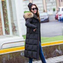 2016 New Fashion Large Raccoon Fur Colllar Women Down Jacket Long Duck Down Coat Thickening Female Hooded Parka Plus Size