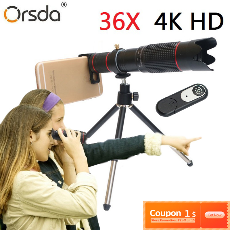 Orsda HD Mobile Phone 4K 36x Telescope Camera Optical Zoom Lens Cellphone Telephoto Lens es For iPhone Samsung Huawei Smartphone