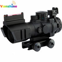 4x32 RGB Tactical Laser Sight Dot Red Tri Illuminated Combo Compact Scope Fiber Optics Green Sight