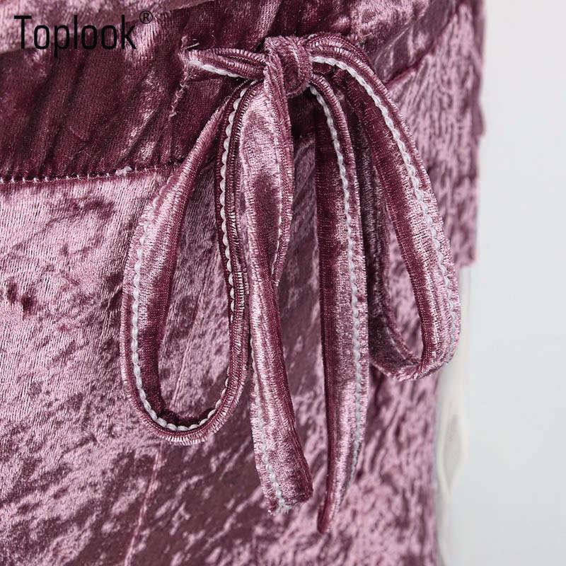 Toplook Aksamitna Dres Dwuczęściowy Zestaw Kobiety Sexy Różowy Top Z Długim Rękawem I Spodnie Body Kombinezon Pasa Startowego Mody 2017 Trainingspak 14