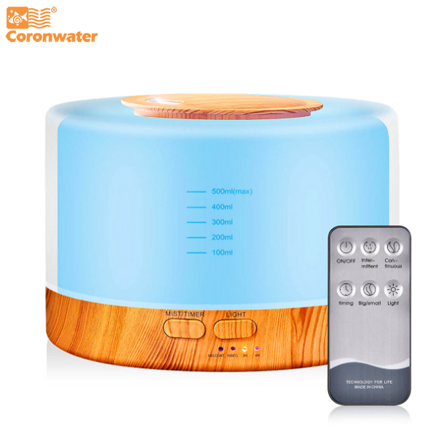 Coronwater 700ml Aroma Essential Oil Diffuser Ultrasonic Air Humidifier 7 Color Changing LED Lights