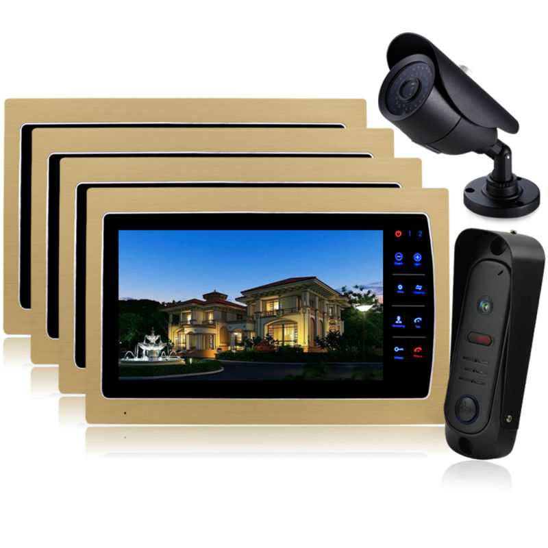 Homefong 10 Inch Video Door Phone Recording HD 1200TVL1 IR Night Doorbell Camera and  HandsFree Monitor Intercom Doorbell 1 CCTV homefong 7 tft lcd hd door bell with camera home security monitor wire video door phone doorbell intercom system 1200 tvl