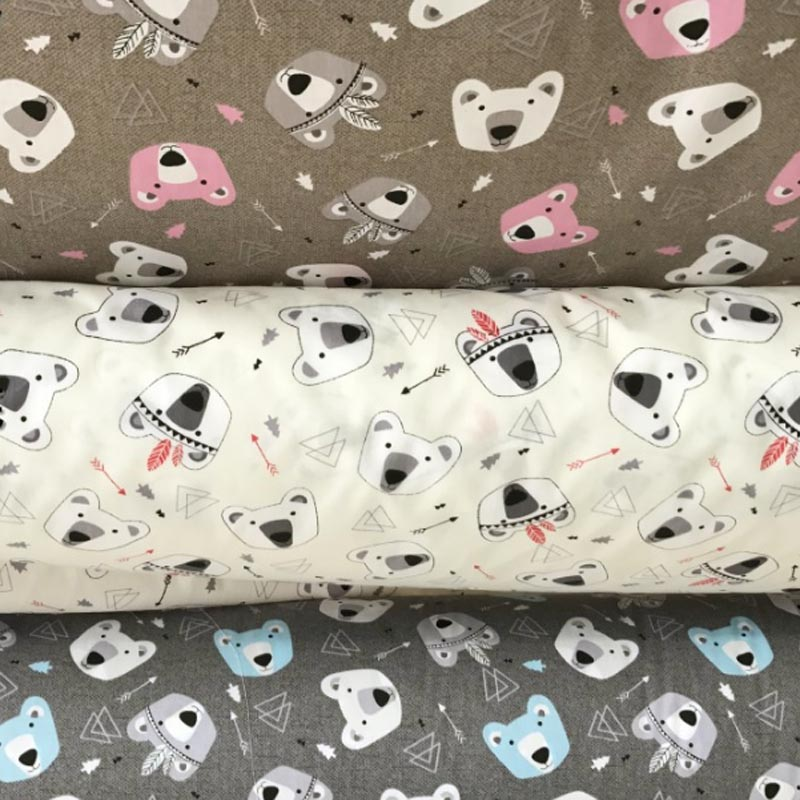 100% cotton twill fabric BROWN CREAM GREY cartoon bear arrow textile for DIY kid crib bedding SHEET cushions quilting home decor ...