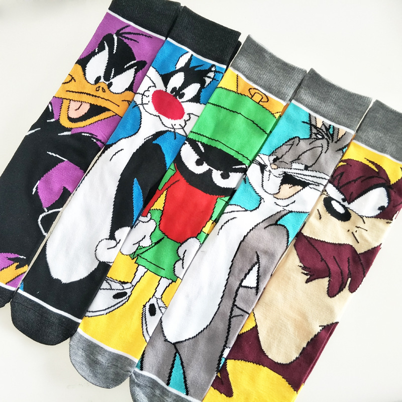 V-Hanver Fashion Male New Happy Funny Socks Cotton Colorful Crazy Cartoon Rabbit Socks Teen Long Socks Cool Fancy Funky Sox Men