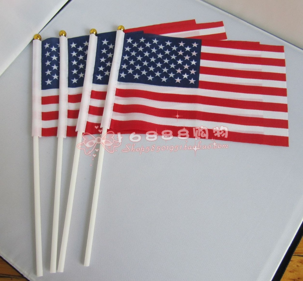 10pcs lot national flag country flag stick flags flag of the united - American Flag American Hand Wave Flags 14 21cm Decorative Celebration Quality Polyester Free Shipping