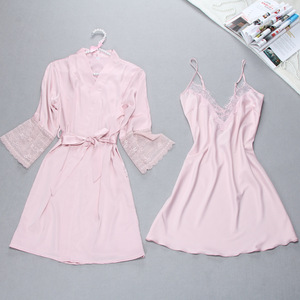 Image 5 - Fiklyc brand sexy womens robe & gown sets twinest bathrobe + mini night dress two pieces sleepwear womens sleep set faux silk