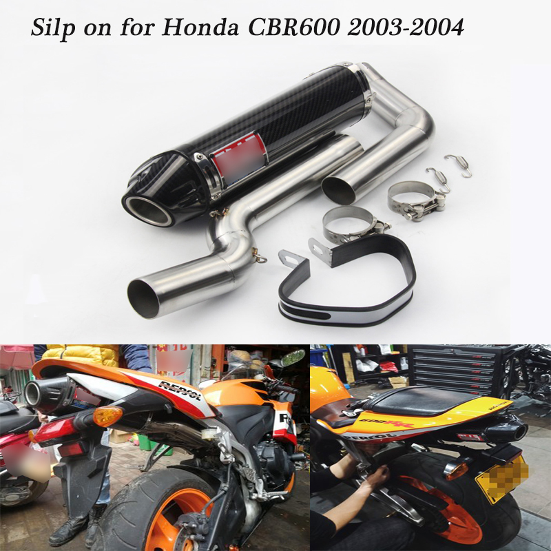 For Honda CBR600 2003 2004 Motorcycle Full Exhaust System Silp on for CBR600RR Tail Exhaust Muffler