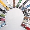 15-color genuina correa de cuero de los hombres de verano marca de color automática hebilla de cinturón de diseñador de la alta calidad ocasional jóvenes pantalones de la correa 130 cm