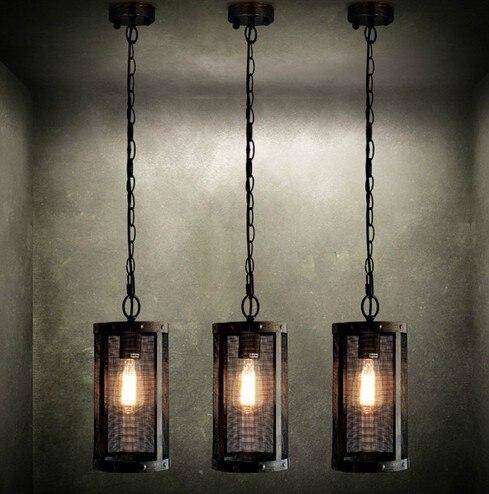 nordic loft metal mesh retro pendant light fixtures edison industrial vintage lighting for living dining room
