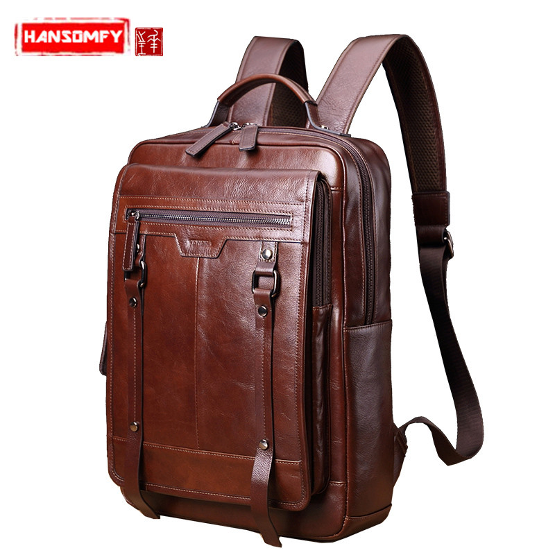 New Genuine Leather Men's Backpack Retro Casual 15.6 Inch Laptop Bag Male Large Capacity Travel Bags Student School Backpacks