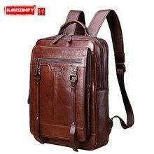 Yeni hakiki deri erkek sırt çantası Retro rahat 15.6 inç Laptop çantası erkek büyük kapasiteli seyahat çantaları öğrenci Schoolbag sırt çantaları