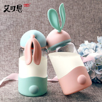 Baby Feeding Cup Bebes Milk Cup Water Bottle Leak Proof Cartoon Rabbit Ears Glass Bottle Cute