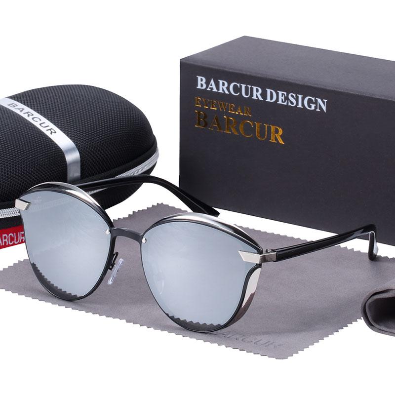 BARCUR Luxury Polarized Sunglasses Women Round Sun glassess Ladies lunette de soleil femme 10