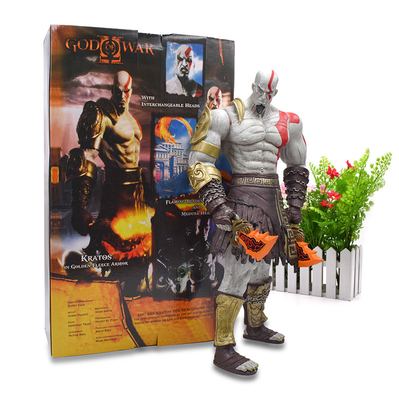 1845 CM God Of War Kratos With Blade Of Chaos Action Figure PVC Giant Collectible Model Toy Christmas Gift For Children god of war 2 pvc action figure display toy doll kratos with flaming blades