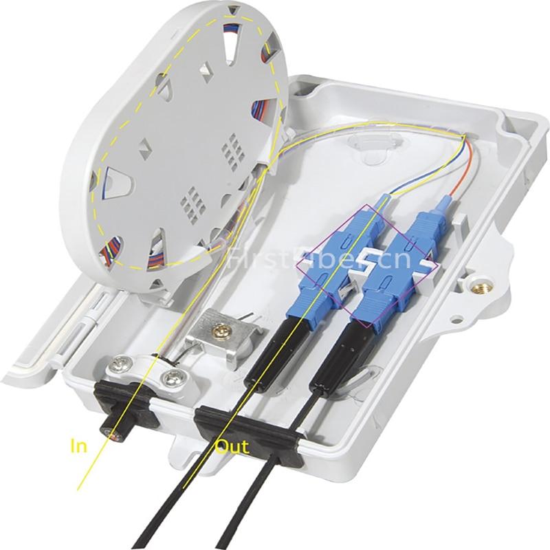 FTTH 2 Cores Fiber Termination Box 2 Ports 2 Channels Fiber Socket Fiber Optical Splitter Box Indoor Outdoor ODN