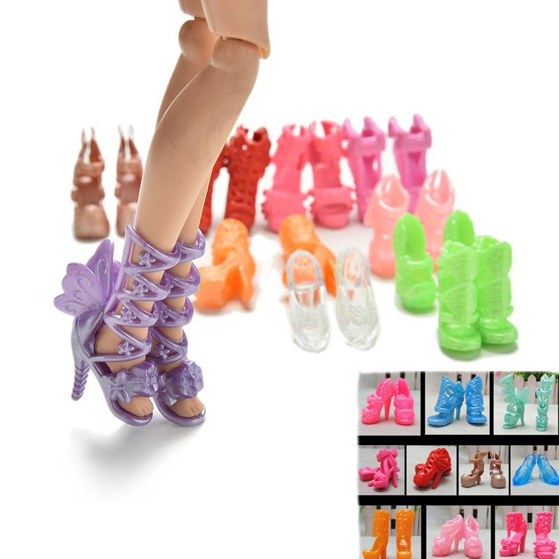 Wholesale 20Pcs/Lot Color Random Fashion Fixed Styles Doll Shoes Bandage Bow High Heel Sandals for Barbie Dolls Accessories Toys